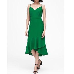 NWT Banana Republic green ruffle midi dress
